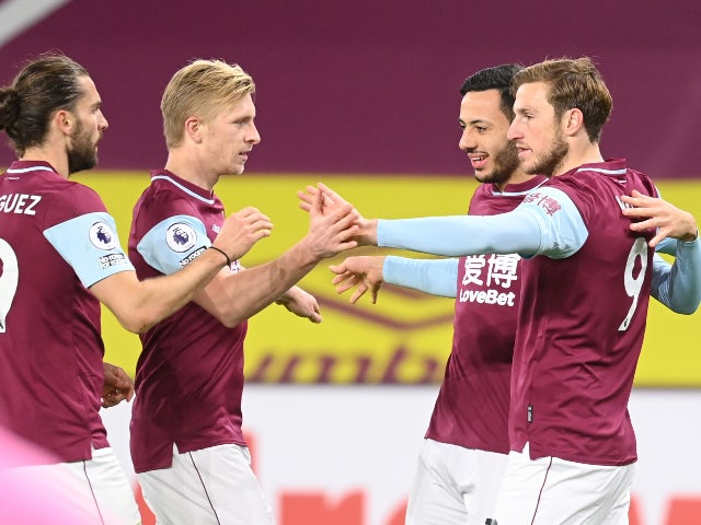 Chris Wood celebrates with teammates after scoring for Burnley against Crystal Palace in the Premier League on November 23, 2020