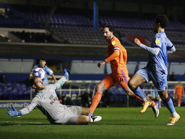 Coventry City's Tyler Walker scores against Cardiff City in the Championship on November 25, 2020
