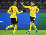 Borussia Dortmund's Jadon Sancho celebrates scoring against Club Brugge in the Champions League on November 24, 2020