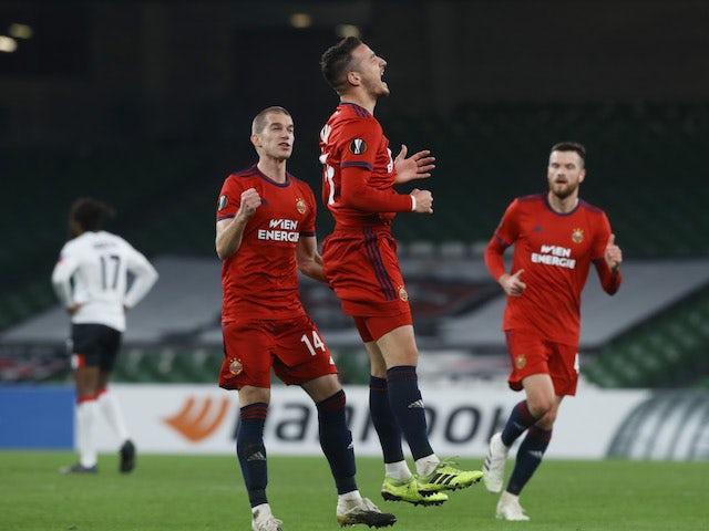 Rapid Vienna's Ercan Kara celebrates scoring against Dundalk in the Europa League on November 26, 2020