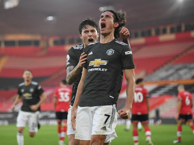 Manchester United's Edinson Cavani celebrates scoring against Southampton in the Premier League on November 29, 2020