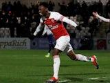 Arsenal's Folarin Balogun celebrates scoring for their youth team in January 2019