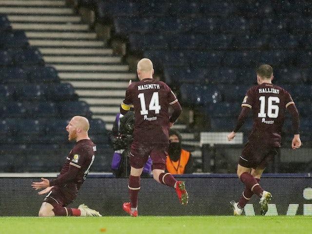 Hearts' Liam Boyce celebrates scoring with teammates against Hibernian on October 31, 2020
