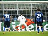 Real Madrid's Eden Hazard scores against Inter Milan in the Champions League on November 25, 2020