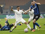 Real Madrid's Lucas Vazquez in action with Inter Milan's Milan Skriniar in the Champions League on November 25, 2020