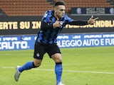 Lautaro Martinez celebrates scoring for Inter on November 22, 2020