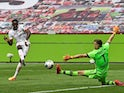 Mainz 05's Jean-Philippe Mateta scores against Bayer Leverkusen in the Bundesliga on June 27, 2020