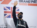 Mercedes driver Lewis Hamilton celebrates winning the Bahrain Grand Prix on November 29, 2020