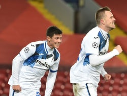 Atalanta BC's Josip Ilicic celebrates scoring against Liverpool in the Champions League on November 25, 2020