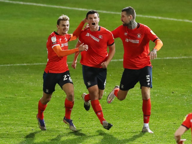 Matty Pearson celebrates scoring for Luton Town against Birmingham in the Championship on November 24, 2020
