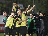 Marine players celebrate booking their spot in the third round of the FA Cup on November 29, 2020