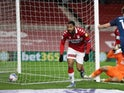 Middlesbrough's Britt Assombalonga celebrates scoring against Derby County in the Championship on November 25, 2020