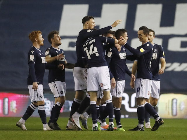 Millwall's Jed Wallace celebrates scoring against Reading in the Championship on November 25, 2020