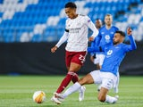 Arsenal's Joe Willock in action with Molde's Etzaz Hussain in the Europa League on November 26, 2020