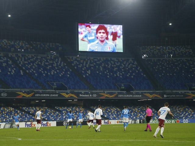 Diego Maradona is displayed on the big screen during Napoli's Europa League clash with Rijeka on November 26, 2020