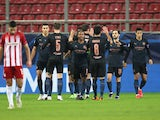 Manchester City players celebrate Phil Foden's goal against Olympiacos in the Champions League on November 25, 2020