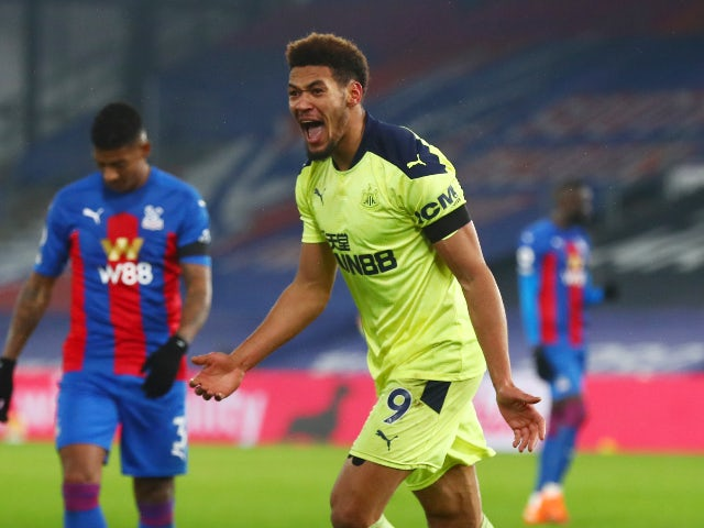 Joelinton celebrates scoring for Newcastle United against Crystal Palace in the Premier League on November 27, 2020