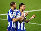 Joselu celebrates scoring for Deportivo Alaves against Real Madrid in La Liga on November 28, 2020