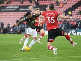 Manchester United's Bruno Fernandes scores against Southampton in the Premier League on November 29, 2020