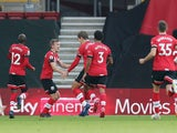 Southampton's James Ward-Prowse celebrates scoring against Manchester United in the Premier League on November 29, 2020