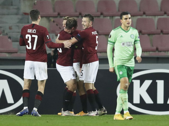 Sparta Prague's Lukas Julis celebrates scoring against Celtic in the Europa League on November 26, 2020