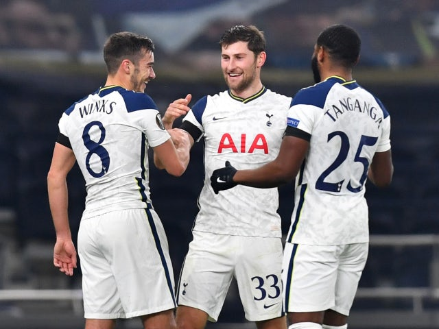 Harry Winks celebrates after scoring for Tottenham Hotspur against Ludogorets on November 26, 2020