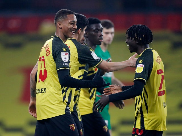 Joao Pedro celebrates after scoring for Watford against Preston North End in the Championship on November 28, 2020