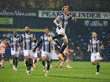 Conor Gallagher celebrates scoring for West Bromwich Albion against Sheffield United in the Premier League on November 28, 2020