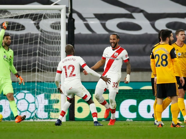Theo Walcott celebrates his first goal for Southampton since 2006 against Wolverhampton Wanderers in November 2020