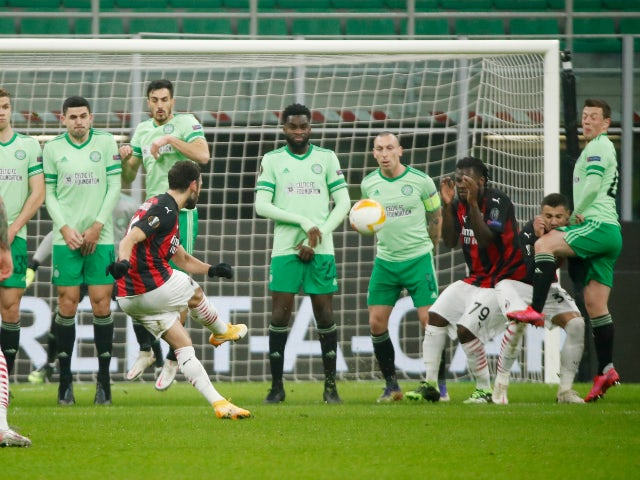 Hakan Calhanoglu scores for AC Milan against Celtic in the Europa League on December 3, 2020