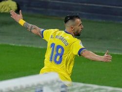 Alvaro Negredo celebrates scoring for Cadiz against Barcelona on December 5, 2020