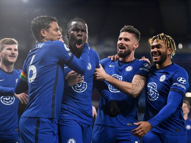 Kurt Zouma celebrates scoring for Chelsea against Leeds United in the Premier League on December 5, 2020
