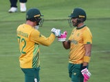 South Africa's Faf du Plessis and Rassie van der Dussen pictured against England on December 1, 2020