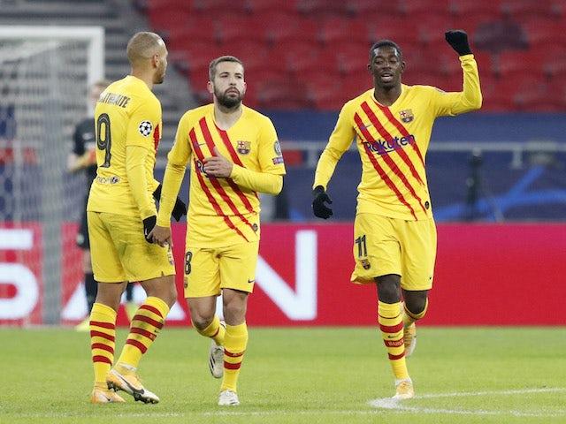Barcelona's Ousmane Dembele celebrates scoring against Ferencvaros in the Champions League on December 2, 2020