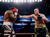 Tyson Fury in action with Dereck Chisora on November 29, 2014