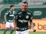Palmeiras attacker Gabriel Veron celebrates scoring against Delfin in the Copa Libertadores on December 2, 2020