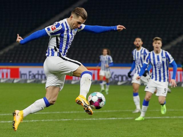Hertha Berlin's Peter Pekarik scores against Union Berlin in the Bundesliga on December 4, 2020