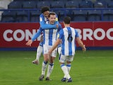 Harry Toffolo celebrates scoring for Huddersfield Town against QPR in the Championship on December 5, 2020