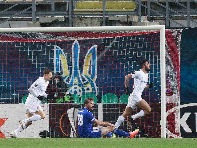 Zorya Luhansk's Allahyar Sayyadmanesh celebrates scoring against Leicester City in the Europa League on December 3, 2020