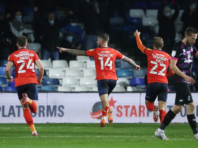 Luton Town's George Moncur celebrates scoring against Norwich City in the Championship on December 2, 2020