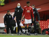 Manchester United forward Marcus Rashford is substituted after picking up an injury against Paris Saint-Germain on December 2, 2020