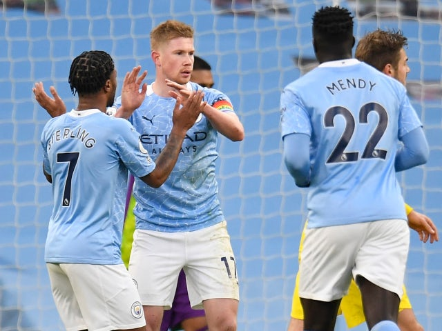 Kevin De Bruyne celebrates scoring for Manchester City against Fulham in the Premier League on December 5, 2020