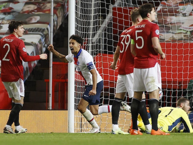 Paris Saint-Germain's Marquinhos celebrates scoring against Manchester United in the Champions League on December 2, 2020