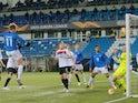 Molde's Martin Ellingsen scores against Dundalk in the Europa League on December 3, 2020