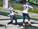 Seattle Seahawks free safety Quandre Diggs celebrates his interception against the Philadelphia Eagles on November 30, 2020