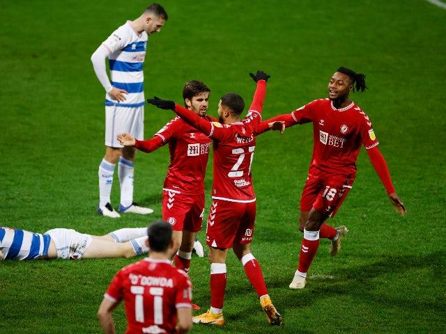 Adam Nagy celebrates scoring for Bristol City against QPR in the Championship on December 1, 2020