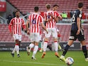 Nathan Collins celebrates scoring for Stoke City against Middlesbrough in the Championship on December 5, 2020