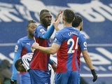 Crystal Palace's Christian Benteke celebrates scoring against West Bromwich Albion in the Premier League on December 6, 2020