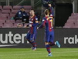 Barcelona's Lionel Messi celebrates scoring against Levante on December 13, 2020
