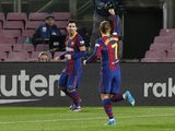 Barcelona's Lionel Messi celebrates scoring against Levante on December 13, 2020